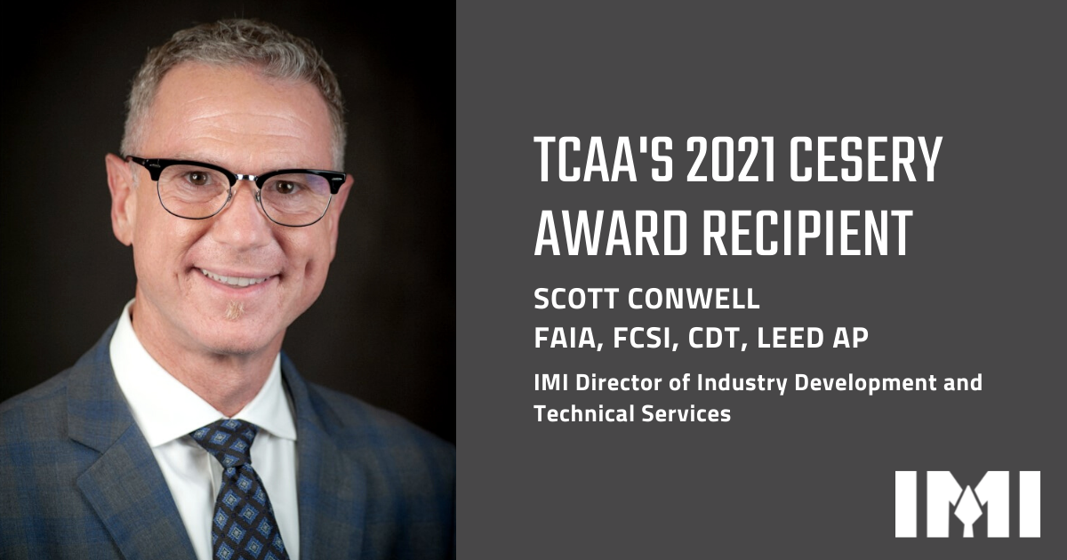IMI Director Scott Conwell Receives Prestigious Cesery Award for Contributions to the Tile Industry